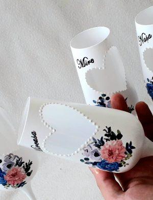 Set 4 pahare personalizate pentru miri si nasi, model deosebit, FEIS171