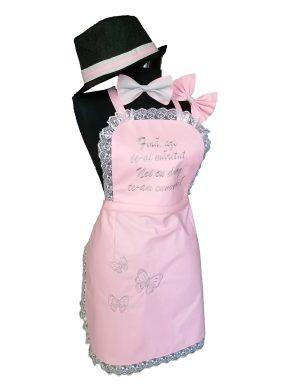 Set dezgatit mireasa 5 piese, model roz cu fluturasi, palarie neagra si fundita, ODIS181