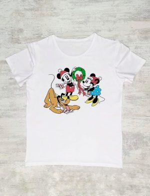 Tricou Craciun cu Mickey, Minnie si Pluto, personalizat prin DTG – ACD1108
