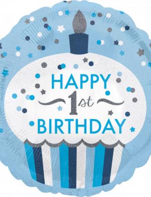 Balon folie 45 cm 1st Birthday Cupcake Boy – FTB043