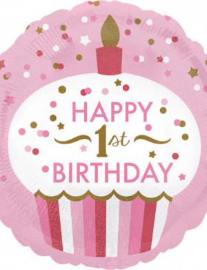 Balon folie 45 cm 1st Birthday Cupcake Girl FTB042