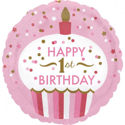balon folie 45 cm 1st birthday cupcake girl 1