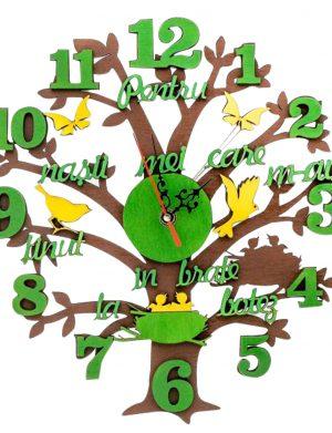Ceas cadou pentru nasi de botez forma Copac, diam. 30cm, SOMIS176