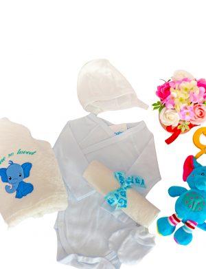 Set cadou bebelusi model Elefantel albastru, baietel, 7 piese cu prosop brodat – ILIF002