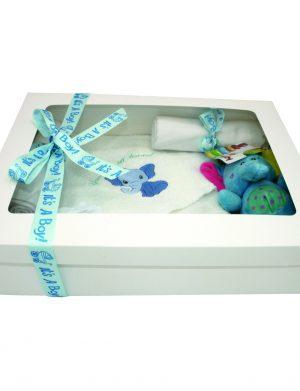 Set cadou bebelusi model Elefantel, 7 piese, ambalat in cutie de cadou cu fereastra de vizitare si fundita – ILIF002