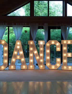 """Inchiriere Litere volumetrice cu lumini, """"Dance"""", 80 cm inaltime"""