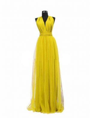 Rochie versatila lunga cu tulle pentru domnisoare de onoare, galben, ACD108