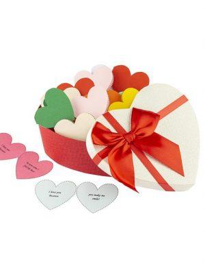30 Reasons Why I Love You, mesaje-inima, diverse modele de cutii, cadou iubit(a), multicolor