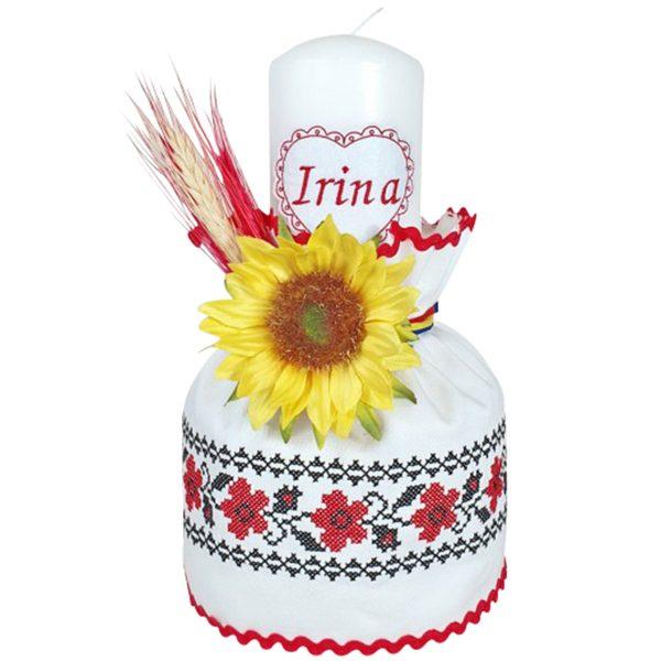 lumanare botez traditionala motiv floral 1