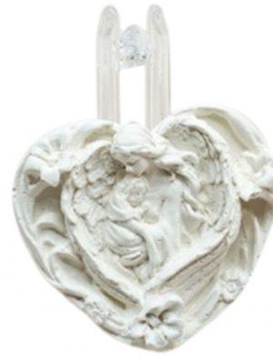 Marturie inimioara pentru botez realizata din ceramica parfumata – MTB302