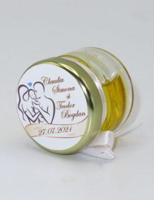 Marturii dulci cu miere, model handmade Bondarel – galben alb, borcan 30 gr – DSBC1912