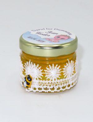 "Marturii dulci cu miere, model handmade ""Dorinta� – alb, borcan 30 gr – DSBC1921"