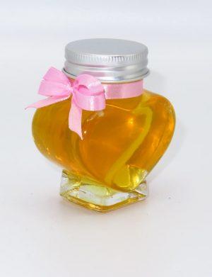 Marturii dulci cu miere, model handmade Iubire – roz, borcan 90 gr – DSBC1697