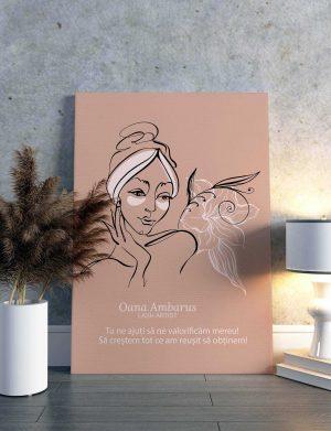 Tablou canvas LineArt personalizat cu mesaj, dim. 40 x 53 cm – OPB1919