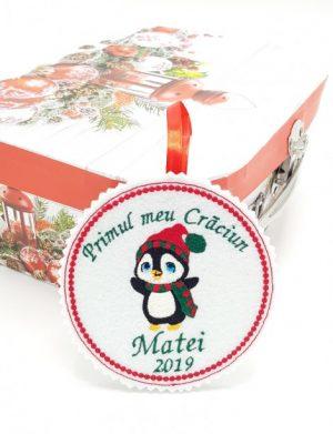 Ornament brad  pinguin Primul meu Craciun