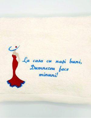 Set prosoape nasi brodate cu mesaj La casa cu nasi buni, Dumenezeu face minuni, cadou saculet cu lavanda – ILIF010