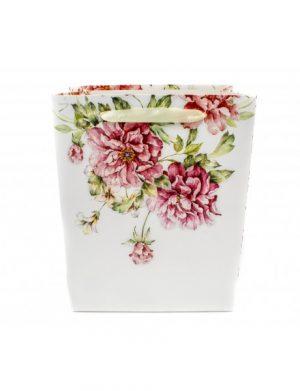 Pung Pentru Cadou, Fond Alb Trandafiri Mari 18x23x10, ILIF1617