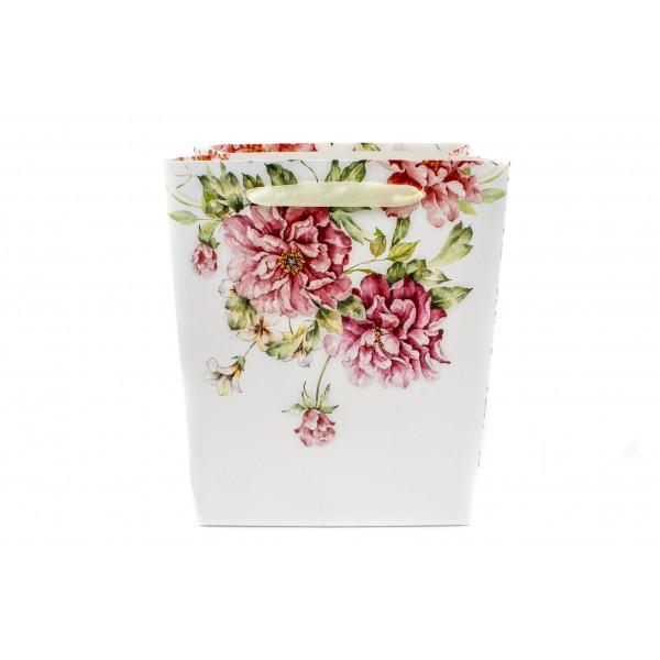 pungi pentru cadou fond alb trandafiri mari 18x23x10
