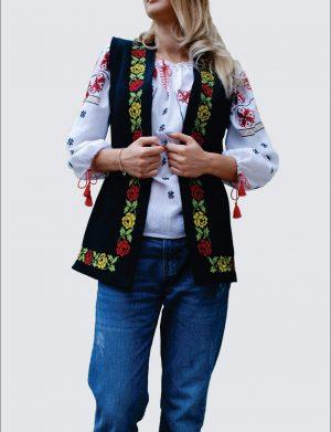Vesta de dama brodata cu motive populare, croita in Romania – LLDJ10138