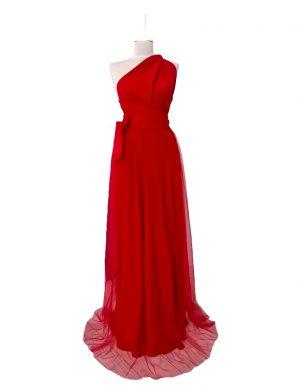 Rochie versatila lunga cu tulle pentru domnisoare de onoare, rosie, ACD1021