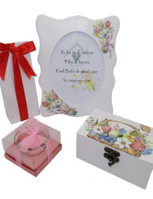 Set cadou 4 piese O primavara frumoasa cu rama foto si cutie de bijuterii, ILIF1022