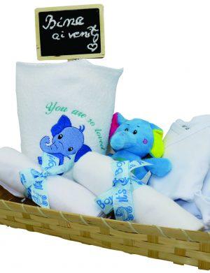 Set cadou bebelusi model Elefantel, 7 piese cu prosop brodat – ILIF002