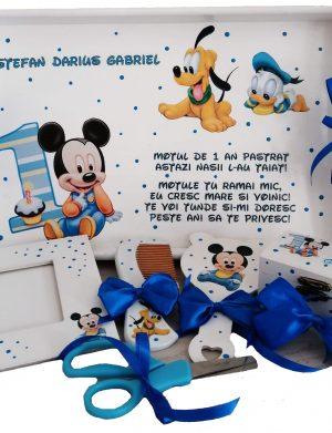 Set Tavita Mot (turta) Baby Mikey si Goofy, 7 piese, personalizat cu nume si data, DSPH165