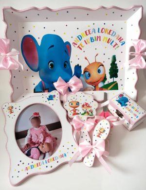Set Mot Elefantul si Furnicuta, 7 piese, personalizat cu nume si data pentru fetita