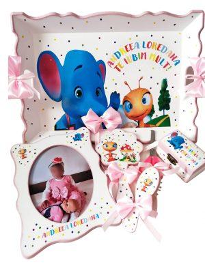 Set Mot Elefantul si Furnicuta, 7 piese, personalizat cu nume si data pentru fetita, DSPH1614