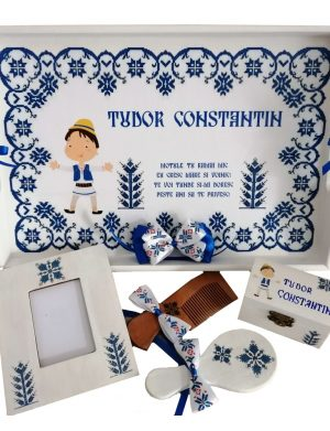 Set Mot Traditional, 7 piese, personalizat cu nume si data prin transfer de imagine, pictura, decoupage