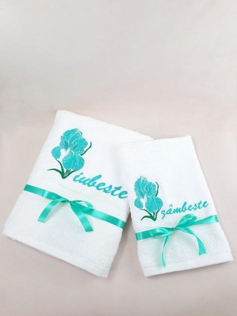 set prosoape personalizate floare de iris
