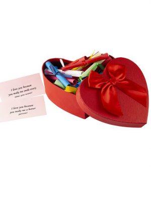30 Reasons Why I Love You, mesaje-sul, cutie rosie in forma de inima, cadou iubit(a), multicolor