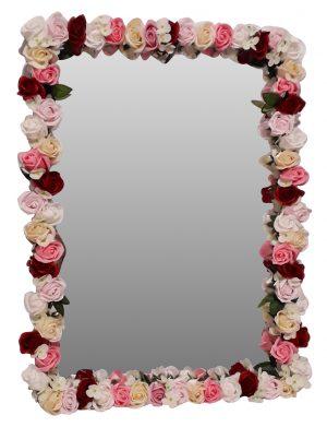 Oglinda miresei, lucrata cu flori de matase, 40×60 cm, FEIS1650